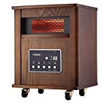 VonHaus 4 Element Infrared Fan Heater with Remote Control, Digital Display & Timer - Wood Electric Portable Indoor Space Heater with Wheels