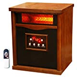 LifeSmart 6 Element Quartz w/Wood Cabinet and Remote Large Room Infrared Heater Quakerstown Dark Oak