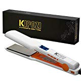 "KIPOZI Pro Nano Titanium Flat Iron Hair Straightener with Digital LCD Display, Heats Up Instantly, A High Heat of 450 Degrees, Dual Voltage, 1.75"" Wide Plate(White)"