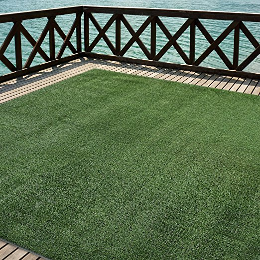 10. iCustomRug Outdoor Turf Rug in Green Artificial Grass In 12' X 8'