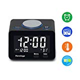 USB Alarm Clock, Digital Alarm Clock Radio with USB charging Port, Clock, Alarm, FM Radio, Thermometer and LCD screen for Bedroom, Kitchen, Hotel, Table, Desk