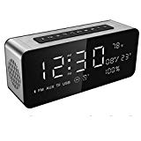 Soundance Alarm Clock FM Radio Wireless Speaker with USB Port LED Screen for Bedroom Bedside Office, A10 Silver