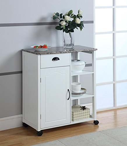 8. Kings Brand White Finish Wood & Marble Vinyl Top Kitchen Storage Cabinet Cart