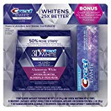 Crest 3D White Luxe Whitestrips Dental Teeth Whitening Strips Kit, Glamorous White, 21 Treatments + BONUS Crest 3D White Radiant Mint Toothpaste