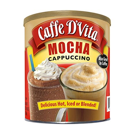 9. Caffe D'Vita Mocha Cappuccino Hot or Cold Cappuccino Mix 64 Oz