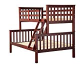 Palace Imports 100% Solid Wood Mission Twin Over Full Bunk Bed, Mahogany, 26 Slats Included. Optional Drawers, Trundle, Rail Guard Sold Separately. Requires Assembly.