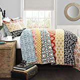 Lush Decor Bohemian Striped Quilt Reversible 3 Piece Colorful Boho Design Bedding Set, Full/Queen, Turquoise
