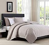 BOURINA Reversible Quilt Coverlet Set Queen - Microfiber Lightweight Bedspread 3-Piece Quilt Set, Beige