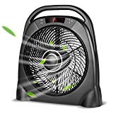 Air Choice Remote Table Fan - 12 Inch Quiet Floor Fan with Adjustable Speeds & Automatic Shutoff Timer, Box Fan with Sleep & Powerful Modes, Black