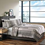 Eddie Bauer Fairview 3 Piece Cotton Reversible Quilt Set, King, Gray