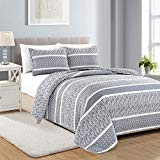 Reversible Paisley Striped Bedspread. King Size Quilt with 2 Shams. 3-Piece Reversible All Season Quilt Set. Grey Quilt Coverlet Bed Set. Kadi Collection.